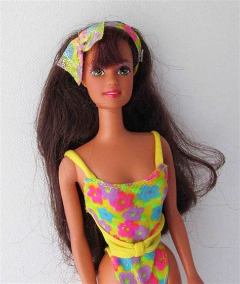 bathing suit hair pics glitter beach teresa barbie doll toy 1990s floral glitter