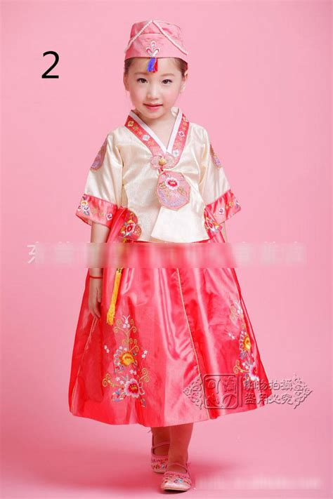 Dress Anak Korea Pink Baloon new hanbok korean traditional formal dresses costume princess flower embroidered dress