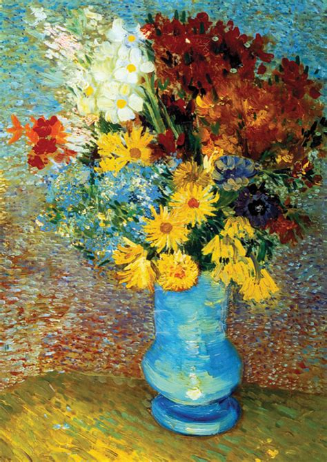 flowers in blue vase by gogh outset media