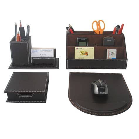 Ever Perfect 4pcs Set Leather Office Desk Stationery Office Desk Pen Holder