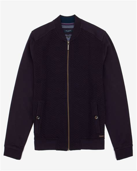 Ted Baker Quilted Jacket by Ted Baker Quilted Herringbone Bomber Jacket In Purple For