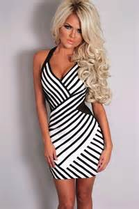 Black white stripe mesh accent backless bodycon club dress sexy club