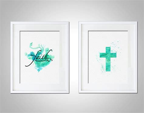 christian home decor wall art watercolor art print religious christian typography set of