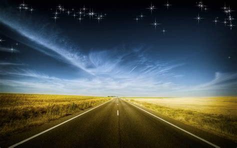 stars night sky road fields wallpapers stars night sky