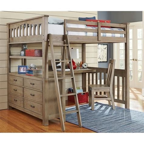 Bunk Bed Loft With Desk Ne Highlands Loft Bed With Desk And Shelf In Driftwood 10080nd 535 Kit