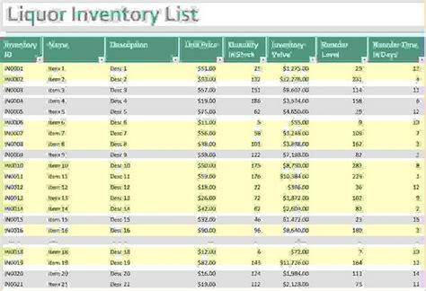 Bar Inventory Bar Inventory Sheets And Free Liquor Bevspot Inventory Template