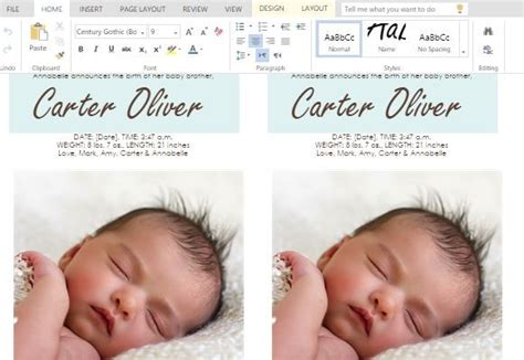 baby announcements card template how to make child birth announcement cards in word