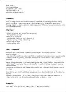 Carpet Technician Cover Letter by Professional Floor Covering Installer Templates To