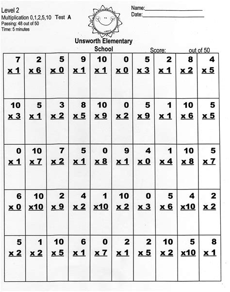 multiplication timed test worksheets for 3rd grade