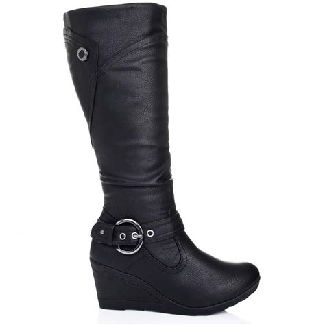 buy berlin wedge heel knee high biker boots black