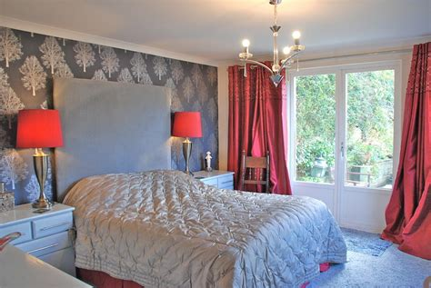 lilac and silver bedroom grey feature wall wallpaper design ideas photos