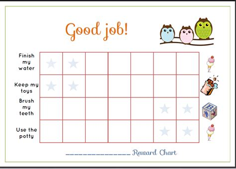 free printable toddler reward chart template sle