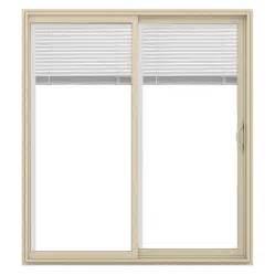 Jeld Wen Patio Doors With Blinds Shop Jeld Wen V 2500 71 5 In Blinds Between The Glass Almond Vinyl Sliding Patio Door With