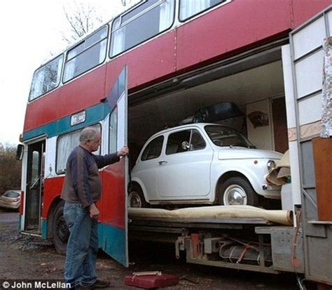 bus conversions cers etc pinterest double decker bus conversion with garage for tiny car 02