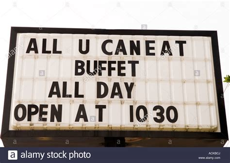 All You Can Eat Buffet Sign Usa Stock Photo 13178177 Alamy Sign For Buffet