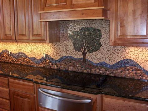 creative design river rock backsplash for kitchen