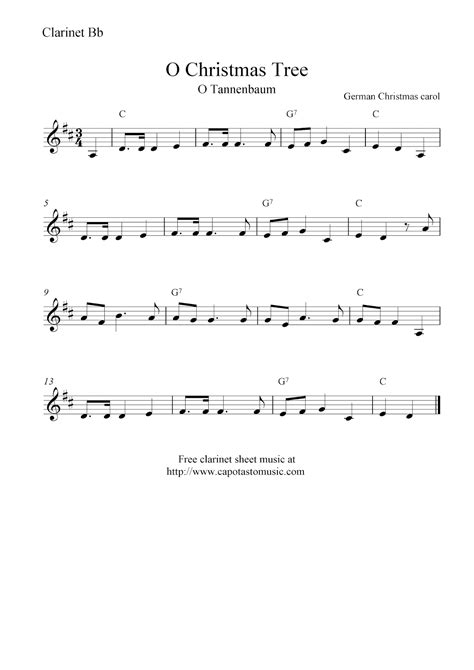 printable sheet music for clarinet o christmas tree o tannenbaum free christmas clarinet