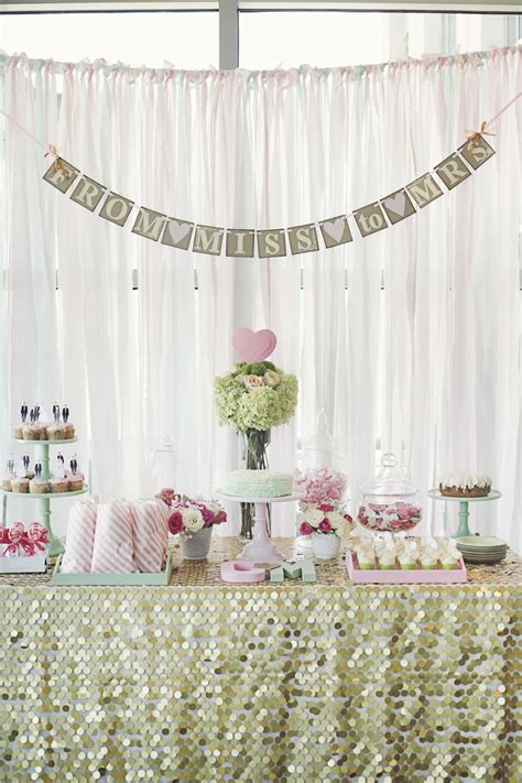 bridal shower table mint green and pale pink bridal shower dessert table http