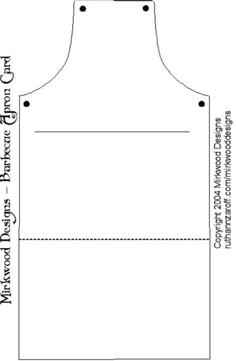 Apron Template For Card by Template For Apron Card Sewing Aprons Mitts Etc