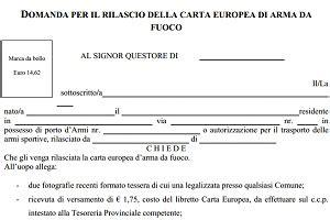 porto d armi venatorio modulo per la carta europea d arma da fuoco armi e