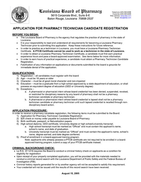 certified pharmacy technician resume application letter