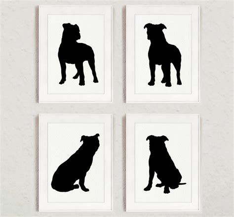 Custom Home Decor Signs by Pitbull Set Of 4 Dog Home Decor Pit Bull Silhouette Ink