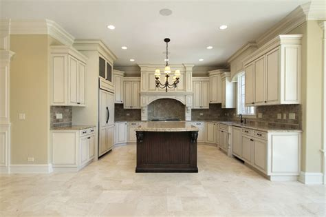 beige kitchen floor tiles and marble backsplash