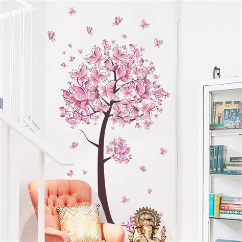 flower wall stickers for bedrooms flower floral butterflies tree tree wall
