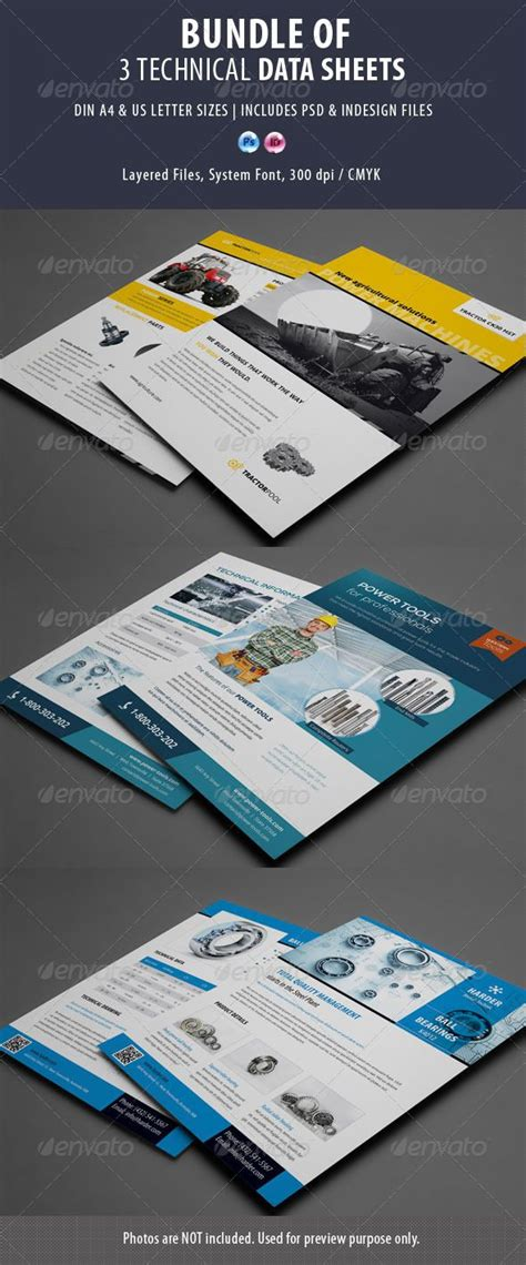 brochure templates buy 3 technical data sheets flyer bundle template psd buy