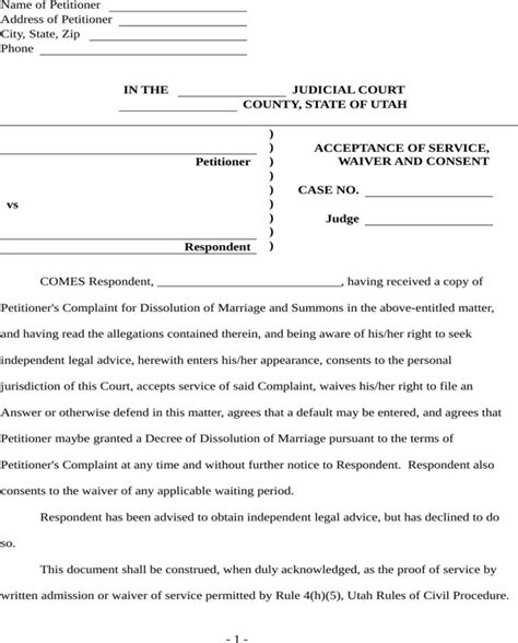Divorce Consent Letter Free Utah Acceptance Waiver And Consent Form For Doc Pdf