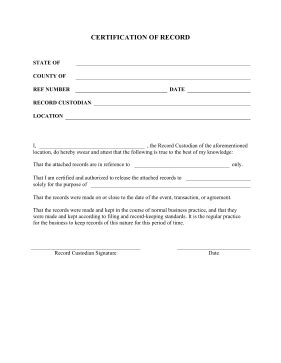 printable certification of record legal pleading template