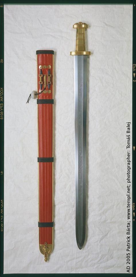 pattern welding bronze germanic full length gold hilt sword pattern welded
