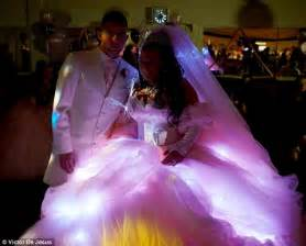 Wedding reception where the lights on her dress come into their own