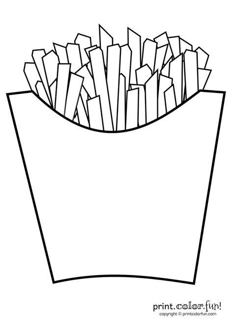 French Fries Coloring Page Print Color Fun Fries Coloring Page