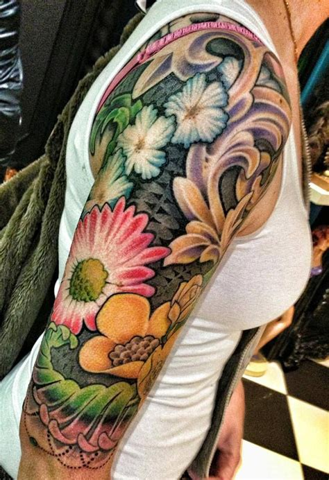 flower tattoo sleeves flower arm sleeve colouring and sculpting