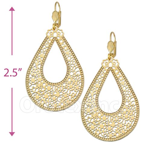 Chandelier Chains 065002 Gold Layered Long Earrings Oro Laminado Gold