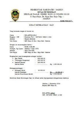 contoh slip gaji karyawan untuk kpr contoh surat keterangan penghasilan guru honorer sd