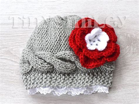 how to knit flowers for baby hat cable knit flower baby beanie gray baby beanie by