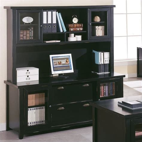 Computer Hutch Desk With Doors Kathy Ireland Home By Martin Tribeca Loft Black Credenza With Hutch With Sliding Doors Tl682 Pkg