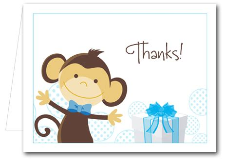 Thank You Notes For Gift Cards - monkey blue gifts note cards thank you notes