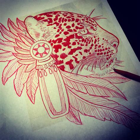 aztec jaguar tattoo designs aztec jaguar drawing pinteres