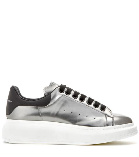 mcqueen sneakers womens mcqueen metallic leather sneakers in metallic lyst