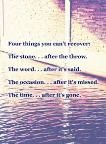 Four things you can t recover the stone after the throw the word