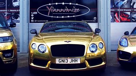 gold chrome bentley bentley gtc wrapped chrome gold for uk s gold car man