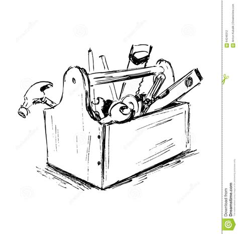 sketch tool sketch the box with tools stock vector image 64246312