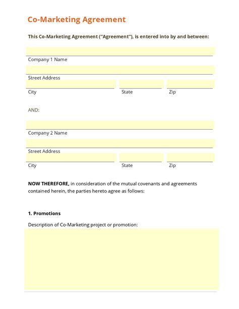 co promotion agreement template business form template gallery