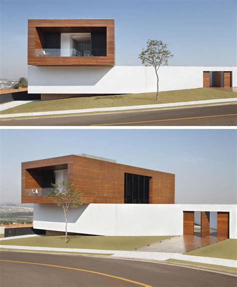 textured front facade modern box home this house appears to be a stack of blocks piled on top of