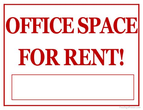 printable office space for rent sign