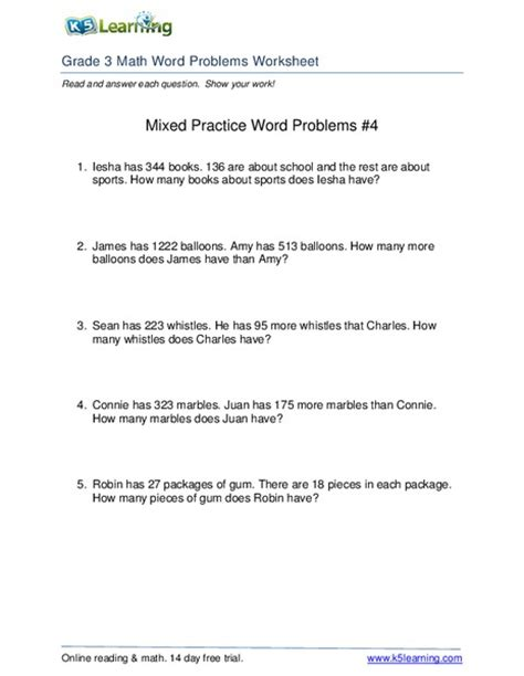 Word Problems Practice Worksheets by 3rd Grade Math Word Problems Worksheets Collection