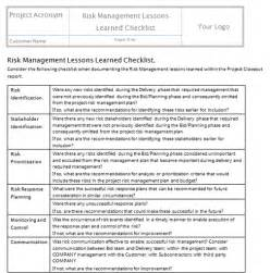 lessons learned template project management monitor and risks project templates project
